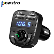 Powstro 5V 4.1A Dual Car charger with Car Kit Bluetooth MP3 Player Hands-free Call Wireless FM Transmitter TF Slot Voltage(China)