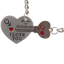 2017 Hot Couple Keychain Trinket Love Heart Key Chains Lock Keyring Women Bag Jewelry Wedding Female Valentine Day Gift