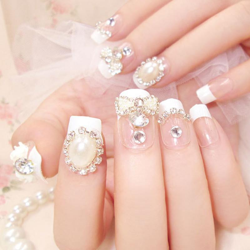 Luxe Shining Rhinestone Wedding False Nails Transparent Glitter Gems ... f5b1a1e8591a