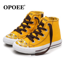New 2018 canvas high quality children casual shoes fashion baby boys girls shoes lace up print Lovely kids shoes sneakers(China)