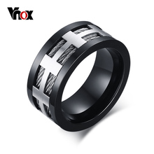 Vnox Punk Men Engagement Ring Trendy Black Cross Charm Wedding Jewelry Stainless Steel Wire Spike