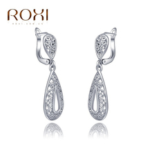 ROXI Earrings Women Brincos White Gold Color Lady Female Jewelry Water Drop Design Earring Wedding Party Christmas Gift