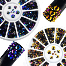 2pcs Mixed Size Purple Gold Flame Jelly Rhinestones Nail Art Charm Tips Crystal Beads 3D Nail Decorations in Wheel TR207(China)