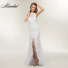 Miaoduo 2018 New Beach Mermaid Simple Wedding Dress Beautiful Cheap Appliques Lace Backless Princess dress vestido de noiva(China)