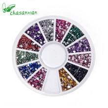 wholesale 1 Box 2000Pcs 1.5mm Multi-color Circular Flash Diamond Diamond DIY Stick Nail / Diamond Stickers Tool Strass crystal.Q