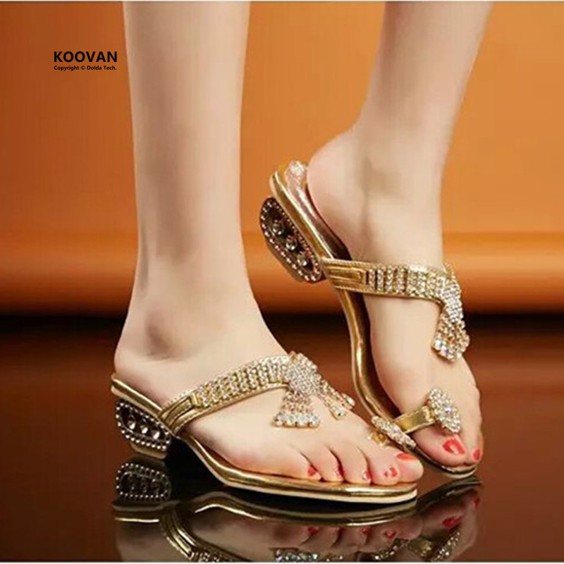 Koovan Women Slippers 2017 Summer New Retro Fashion Women Shoes Rhinestone Golden Sandals Wedge Women Sandals Large Size 40<br><br>Aliexpress