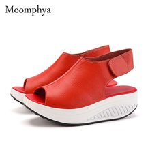 Moomphya New arrive Solid Swing Platform Women Sandals Lady's Wedges Sandals Summer Genuine Leather Platform Shoes casual shoes
