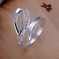 Top quality Silver Plated &Stamped 925 women wonderful wave stone stone jewelry wedding ring crystal ring fine jewelry wholesale