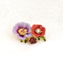 France Les Nereides Enamel Glaze Copper Fashion Trendy Double Colour Peony Flower Gem Women Brooches(China)