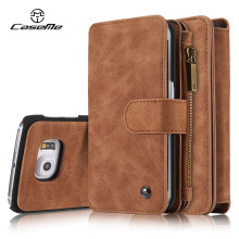 For Samsung Galaxy S6 Case edge Wallet Leather Cover Flip Full Phone Protective Luxury Black Brown Cases for Samsung S6 edge