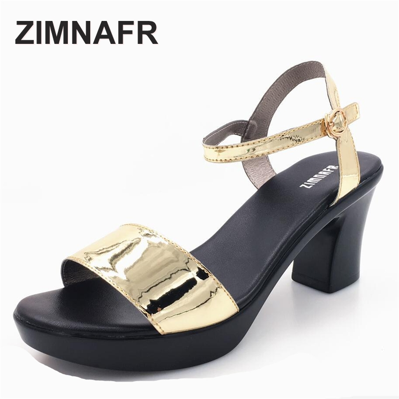 woman sandals 2017 summer genuine leather fashion simple thick high heel sandals female open toe comfortable womens sandals<br>