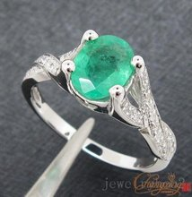 1.18ct Solid 14kt White Gold Natural Emerald & Diamond Engagement Ring Jewelry, Wholesaler Jewelry, 14k Gold Ring