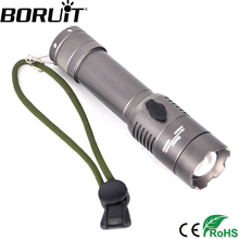BORUiT 1000LM XML T6 LED Tactical Flashlight Zoom 3-Mode Torch Rechargeable Flash Light Camping Hunting Lantern 18650 Battery(China)