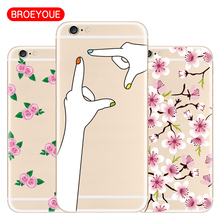 BROEYOUE For iPhone 8 7 6 6S Plus 5 5S SE X Case Soft TPU Ultra Thin Silicone Cover Luxury Cell Phone Cases For iPhone 7 7 Plus