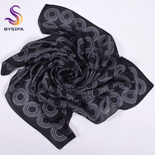 [BYSIFA] Black Silk Scarf Head Scarf 2017 New Circle Design Brand Square Scarves Wraps Summer Ladies Accessories Silk Scarf