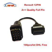 100pcs DHL Free Full 12pin Renault 12Pin OBD Cable to 16pin Connector Adapter OBD II Car Accessories Diagnostic Cable(China)