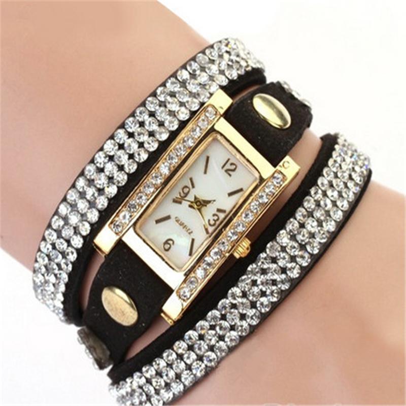 Drop Shipping Womens Vintage Square Dial Rhinestone Weave Wrap Multilayer Leather Bracelet Wrist Watch watches Cai0076<br><br>Aliexpress