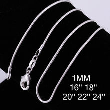 Free Shipping16--24inch Silver Plated 10Pcs/lot 1MM Snake Chain Necklace 925 stamped for women fashion Jewelry
