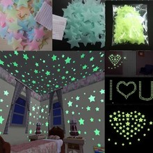 100pcs/lot Glow Wall Stickers Decal Baby Kids Bedroom Home Decor Color Stars Luminous Fluorescent 3 Colors(China)