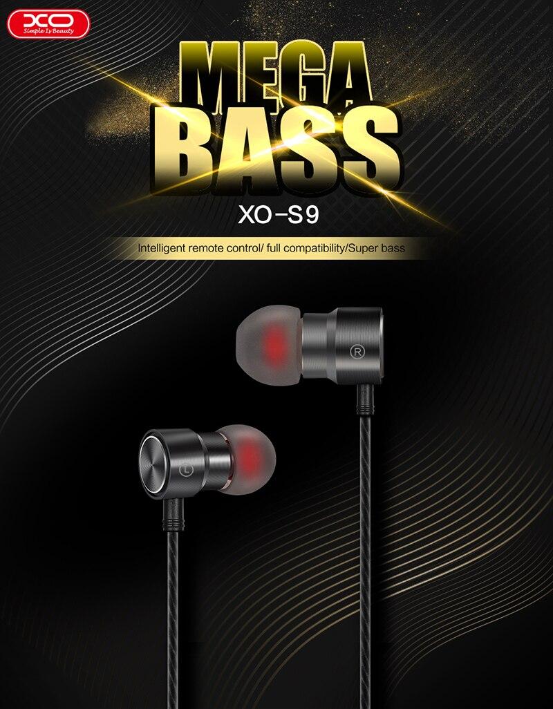 XO S9 Earphones Metal shell HD stereo 8mm Speaker outer diameter In-ear Earbuds Earphone for Mobile Phone for iphone samsung