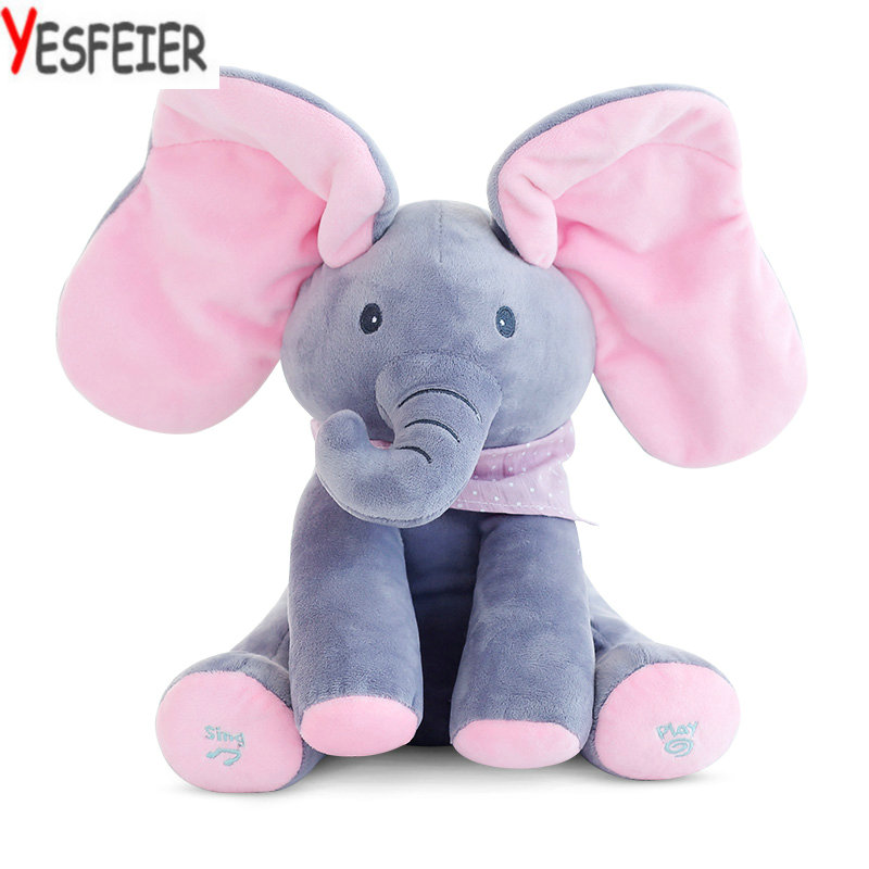 The Elephant Play Hide And Seek Lovely Cartoon Stuffed Elephant Kids Birthday Gift 30cm Cute music Elephant Plush Toy(China (Mainland))