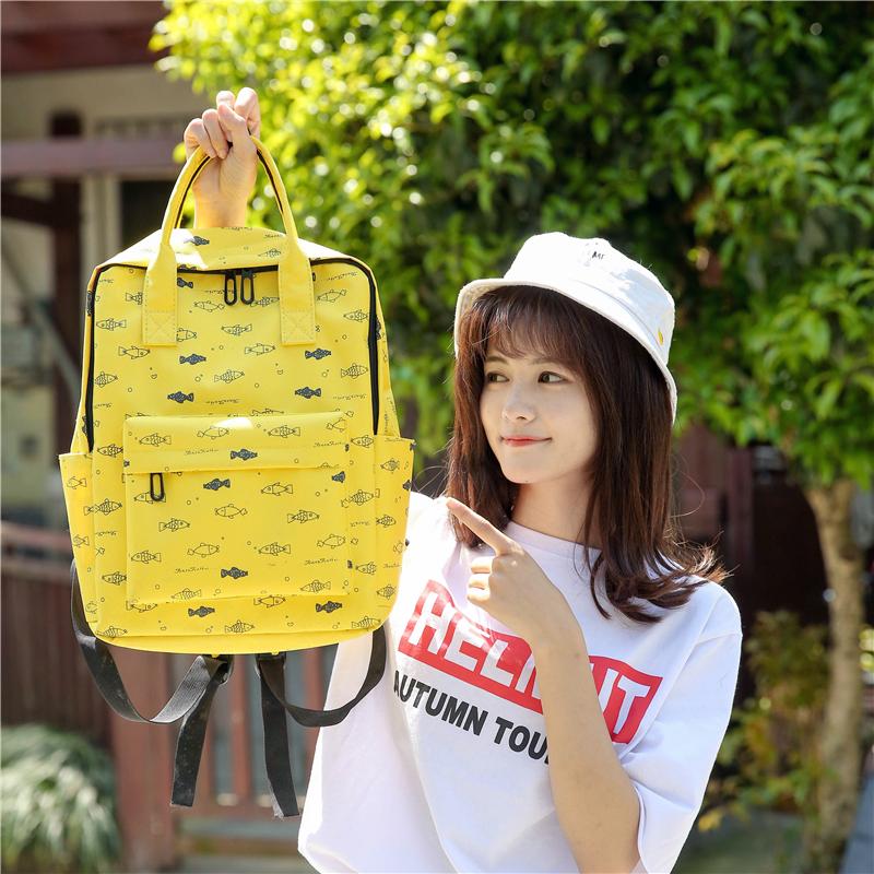 Menghuo Fish Printing Women School Bag Backpack for Teenage Girls Backpacks Female Canvas Children Schoolbag Women Bag s (39)