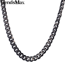 Trendsmax 3/5/7/9/11mm CUSTOMIZE Length Stainless Steel Necklace Black Curb Cuban Chain Boys Mens Fashion jewelry KNM09
