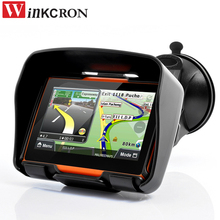 "Best 4.3"" Motorcycle GPS Navigation Car GPS IPX7 Waterproof Bluetooth Car GPS Navigator built in 8GB Free 2017 NEW Maps(China)"