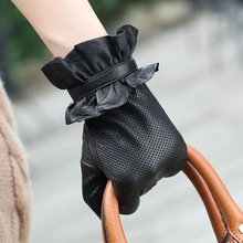 Top Quality Suede Leather Hollow Glove With Hole Stylish Women Italian Genuine Kid Leather Elegant Gloves 1 Pair/lot(China)