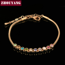 ZHOUYANG Top Quality Multicolour Exquisite ball Rose Gold Color Bracelet Austrian Crystals Wholesale ZYH013 ZYH011 ZYH012