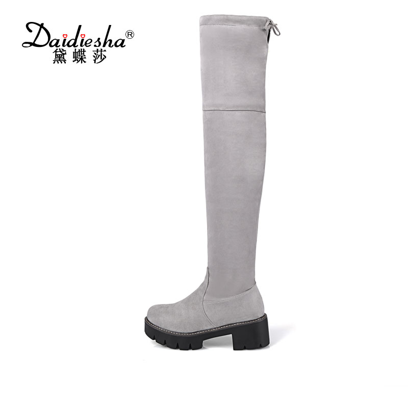 Daidiesha Women Boots Faux Suede Platform Chunky Heel Spring Autumn Boots Square Heel Women Boots Sexy Over The Knee Boots<br>