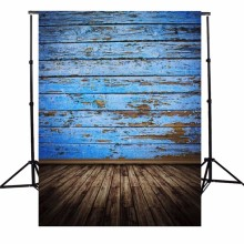 3X5FT Vintage Wood Floor Photography Background  Retro Blue Board Photographic Backdrops For Studio Photo Props 90 x 150cm