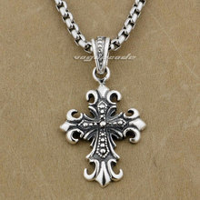 Retro Fashion Solid 925 Sterling Silver Cool Men's Biker Fleur-De-Lis Cross Pendant 9J028(China)