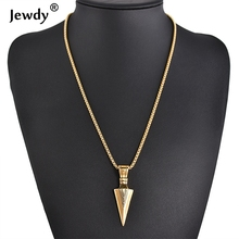 New Hiphop Stainless Steel Arrow Pendant Choker Necklace Collier Fashion Personalized Gift Jewelry Accessories 2 Color