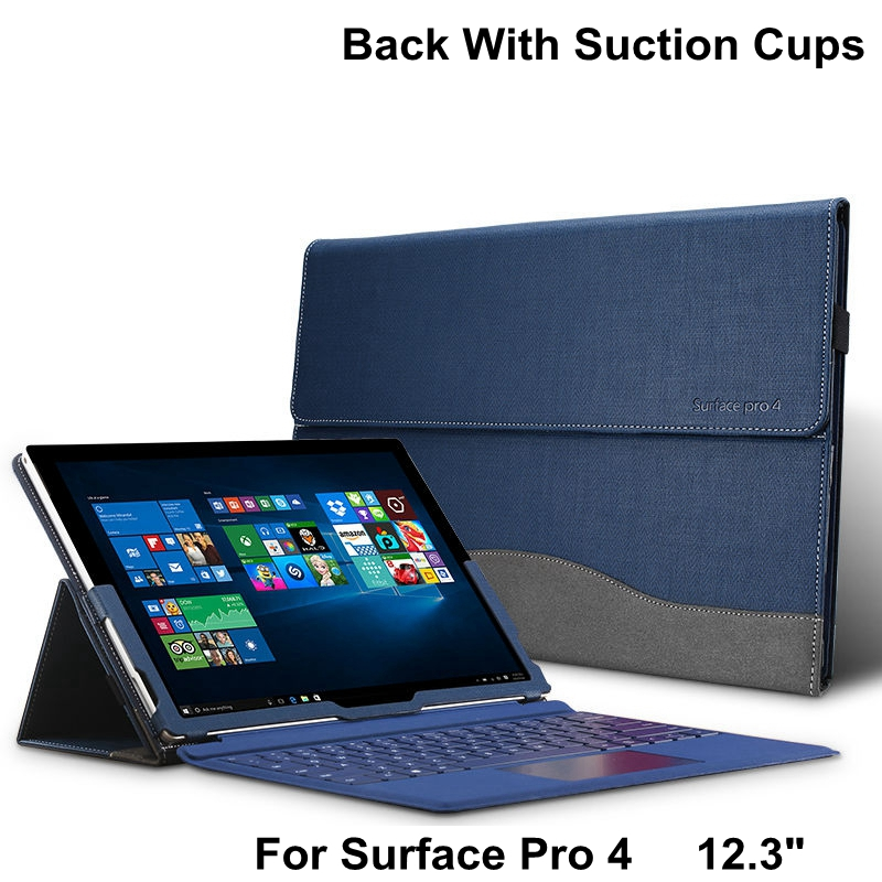 Creative Design High Quality Tablet Case For Microsoft Surface Pro 4 12.3 Premium PU Leather Cover For Pro4 With Stylus Holder<br>