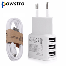 Powstro 3 USB Phone Charger Fast Charging 3A Adapter + Micro USB Cable Wall AC Charge for Samsung iPhone 6 6S Plus All Phone