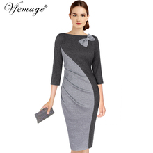 Vfemage Womens Elegant Ruched Bow Contrast Patchwork 3/4 Sleeve Vintage Pinup Work Office Party Fitted Bodycon Sheath Dress 8096(China)