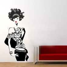Wall Decal Vinyl Salon Fashion Girl Sticker Modern Woman Teen girl Decor House Home Living Room Bedroom Decoration Design WW-223(China)