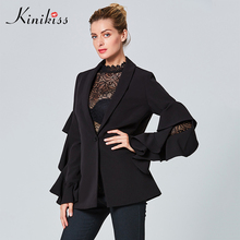 Kinikiss women jacket coat 11.11 global shopping festival solid black falbala sleeve patchwork slim shawl collar new women coats(China)