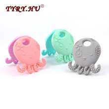 TYRY.HU Octopus Shaped Silicone Baby Teether Baby Christmas Gift BPA Free Infants Teething Chewable Toys Fashion Jewelry Pendant(China)