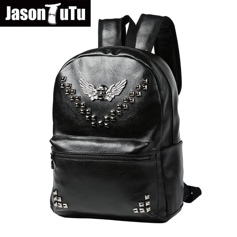 JASON TUTU High quality PU leather black Rivet backpack double shoulder mens backpack 2017 Preppy Style mochilas B266<br>