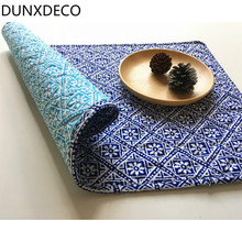 DUNXDECO Table Placemat Quilt Plate Cover Pad Mat Vintage Chinese Style Blue Mini Flora Desk Accessories Home Decor