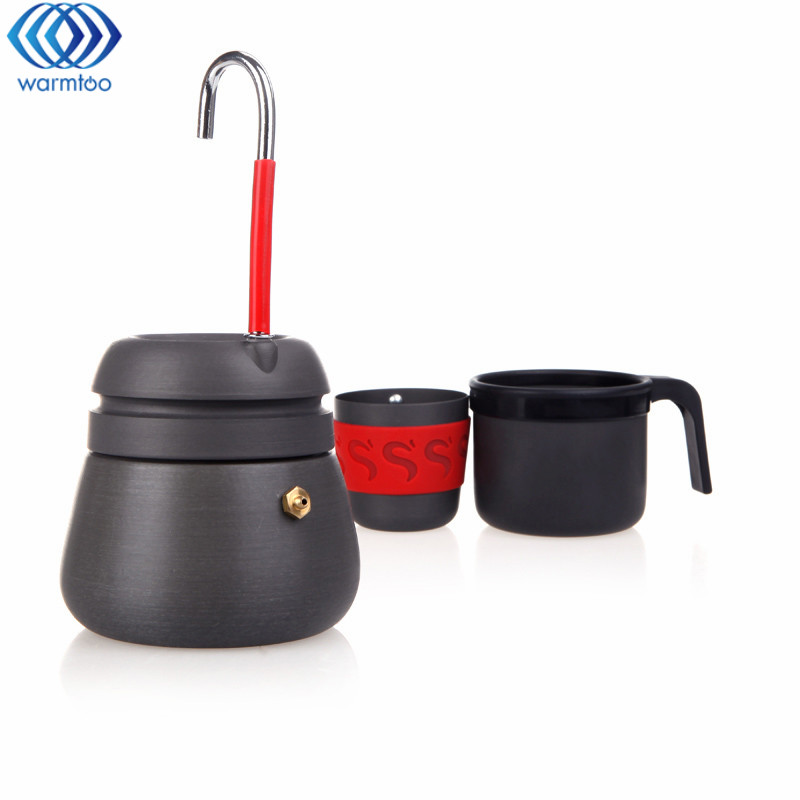 Coffee Maker Pot Camping Hiking Coffee Stove 350ml Portable Outdoor Aluminium Alloy Coffee Pot With 2 Cups Cafe Tools<br>