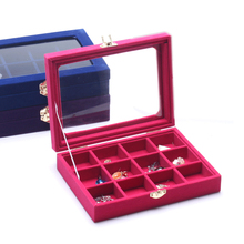 New 12 Slots Velvet Desk Jewelry Storage Box Portable Ring Necklace Jewelry Carrying Case Women Jewelry Storage Organizers Box