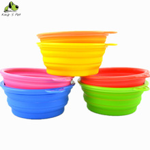 Pet Dog Cat Silica Gel Bowls Folding Portable Bowl For Dog Feeders And Drinking Water 8 Colors Available  Free shipping