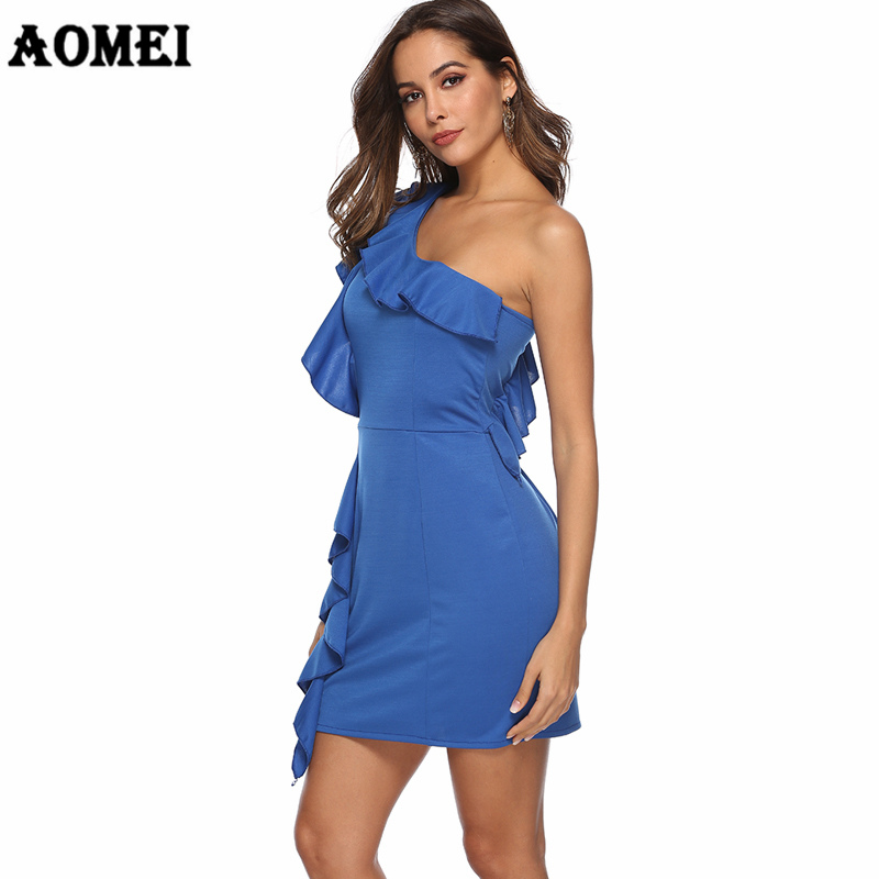 Tunique Dress Party Femmes Sexy Épaule Une Bleu Mini Mince Acheter rWCxoedB