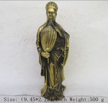 9.45 inch/Chinese Copper figure of three kingdoms zhuge kongming statue