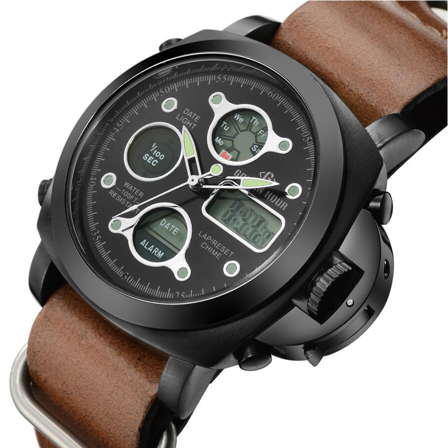 Leather Strap Top Luxury Men Watches Digital Led Sport Military Army Watch Male Clock Relogio Masculino<br><br>Aliexpress