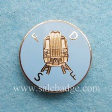 Custom Hard Enamel Metal Gold Train Logo Blue Color Pins Badge