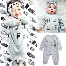 Newborn Infant Baby Boys Girls Clothes Gray Rompers Outfits Hug Life Letter Jumpsuit Playsuit Baby Clothes(China)
